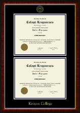 Kenyon College Diploma Frame - Double Diploma Frame in Murano