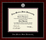 New Mexico State University in Las Cruces Diploma Frame - Silver Engraved Medallion Diploma Frame in Sutton