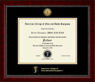 American College of Foot and Ankle Surgeons Certificate Frame - Gold Engraved Medallion Certificate Frame in Sutton