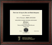 American College of Foot and Ankle Surgeons Certificate Frame - Gold Embossed Certificate Frame in Studio