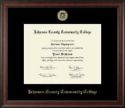Johnson County Community College Diploma Frame - Gold Embossed Diploma Frame in Studio