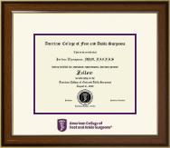 American College of Foot and Ankle Surgeons Certificate Frame - Dimensions Certificate Frame in Westwood