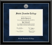 Saint Anselm College Diploma Frame - Silver Engraved Medallion Diploma Frame in Onyx Silver