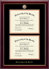 University of the Pacific Diploma Frame - Masterpiece Medallion Double Diploma Frame in Gallery