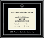 Mid-America Christian University Diploma Frame - Silver Embossed Diploma Frame in Onyx Silver
