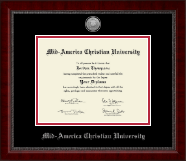 Mid-America Christian University Diploma Frame - Silver Engraved Medallion Diploma Frame in Sutton