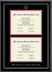 Mid-America Christian University Diploma Frame - Double Diploma Frame in Onyx Silver