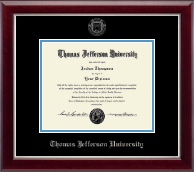 Thomas Jefferson University Diploma Frame - Silver Embossed Diploma Frame in Gallery Silver