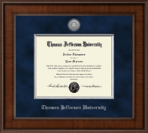 Thomas Jefferson University Diploma Frame - Presidential Silver Engraved Diploma Frame in Madison