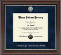 Thomas Jefferson University Diploma Frame - Silver Engraved Medallion Diploma Frame in Chateau