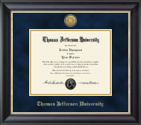 Thomas Jefferson University Diploma Frame - Gold Engraved Medallion Diploma Frame in Noir