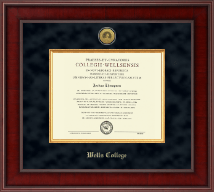 Wells College Diploma Frame - Presidential Gold Engraved Diploma Frame in Jefferson