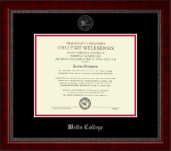Wells College Diploma Frame - Silver Embossed Diploma Frame in Sutton