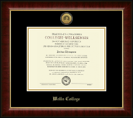 Wells College Diploma Frame - Gold Engraved Medallion Diploma Frame in Murano