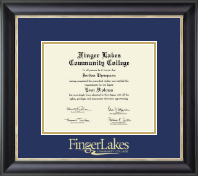 Finger Lakes Community College Diploma Frame - Gold Embossed Diploma Frame in Noir