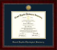 Grand Rapids Theological Seminary Diploma Frame - Gold Engraved Medallion Diploma Frame in Sutton