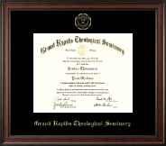 Grand Rapids Theological Seminary Diploma Frame - Gold Embossed Diploma Frame in Studio
