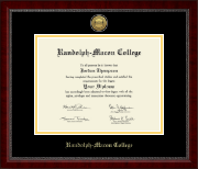 Randolph-Macon College Diploma Frame - Gold Engraved Medallion Diploma Frame in Sutton