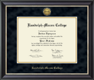 Randolph-Macon College Diploma Frame - Gold Engraved Medallion Diploma Frame in Noir