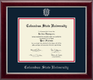 Columbus State University Diploma Frame - Silver Embossed Diploma Frame in Gallery Silver