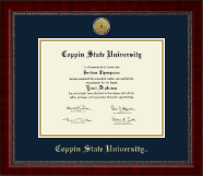 Coppin State University Diploma Frame - Gold Engraved Medallion Diploma Frame in Sutton