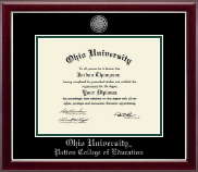 Ohio University Diploma Frame - Silver Engraved Medallion Diploma Frame in Gallery Silver