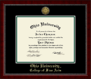Ohio University Diploma Frame - Gold Engraved Medallion Diploma Frame in Sutton
