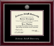 Alabama A&M University Diploma Frame - Silver Engraved Medallion Diploma Frame in Gallery Silver