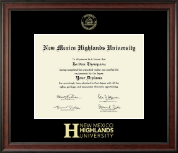 New Mexico Highlands University Diploma Frame - Gold Embossed Diploma Frame in Studio