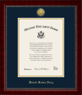 United States Navy Certificate Frame - Gold Engraved Medallion Certificate Frame in Sutton