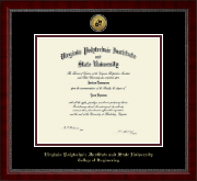 Virginia Tech Diploma Frame - Gold Engraved Medallion Diploma Frame in Sutton