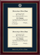 University of Notre Dame Diploma Frame - Masterpiece Medallion Double Diploma Frame in Gallery