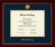 Hiram College Diploma Frame - Gold Engraved Medallion Diploma Frame in Sutton