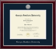 Georgia Southern University Diploma Frame - Silver Engraved Medallion Diploma Frame in Gallery Silver