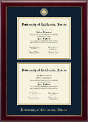 University of California Irvine Diploma Frame - Masterpiece Medallion Double Diploma Frame in Gallery