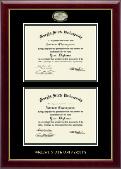 Wright State University Diploma Frame - Masterpiece Medallion Double Diploma Frame in Gallery