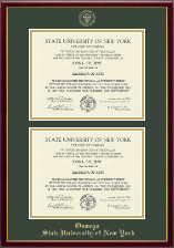 State University of New York at Oswego Diploma Frame - Double Diploma Frame in Galleria