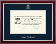 Kent School in Connecticut Diploma Frame - Silver Embossed Diploma Frame in Gallery Silver