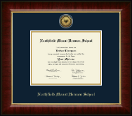 Northfield Mount Hermon School Diploma Frame - Gold Engraved Medallion Diploma Frame in Murano