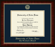University of Notre Dame Diploma Frame - Gold Embossed Diploma Frame in Murano