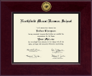 Northfield Mount Hermon School Diploma Frame - Century Gold Engraved Diploma Frame in Cordova