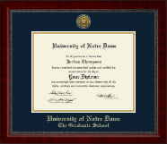 University of Notre Dame Diploma Frame - Gold Engraved Medallion Diploma Frame in Sutton