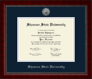 Shawnee State University Diploma Frame - Silver Engraved Medallion Diploma Frame in Sutton