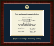 Johnson County Community College Diploma Frame - Gold Embossed Diploma Frame in Murano