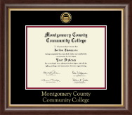 Montgomery County Community College Diploma Frame - Gold Engraved Medallion Diploma Frame in Hampshire