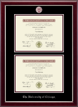 University of Chicago Diploma Frame - Masterpiece Medallion Double Diploma Frame in Gallery Silver