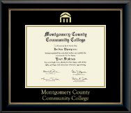 Montgomery County Community College Diploma Frame - Gold Embossed Diploma Frame in Onyx Gold