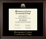 Montgomery County Community College Diploma Frame - Gold Embossed Diploma Frame in Studio