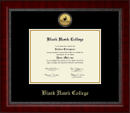 Black Hawk College Diploma Frame - Gold Engraved Medallion Diploma Frame in Sutton