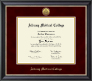 Albany Medical College Diploma Frame - Gold Engraved Medallion Diploma Frame in Noir